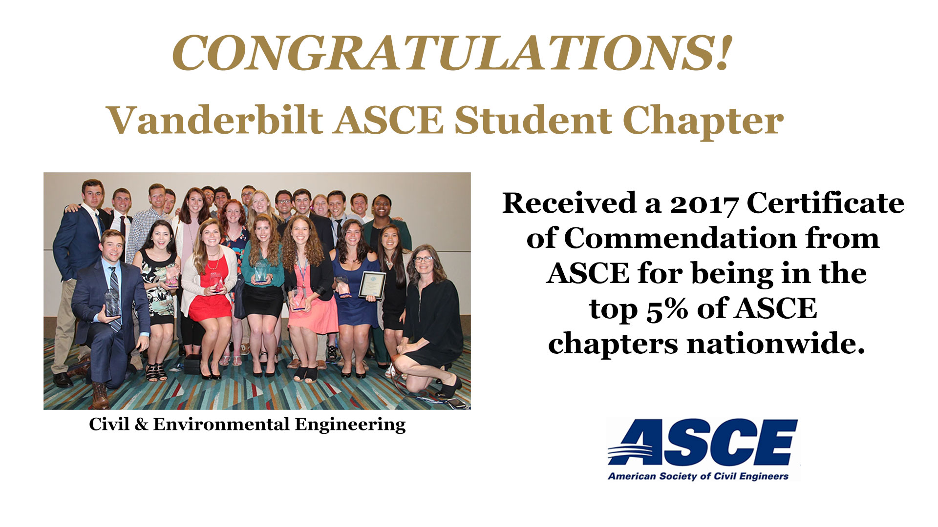 2017 Certificate of Commendation - ASCE