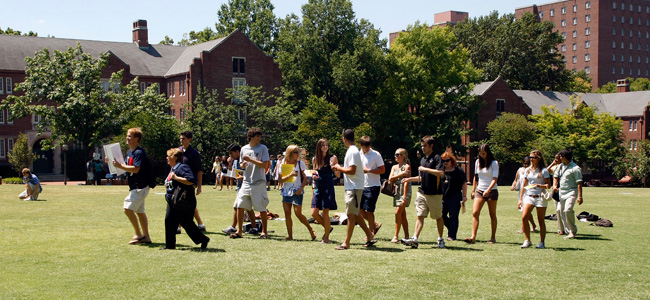 Visions meetings are held on Alumni lawn for freshman to meet each other in small groups