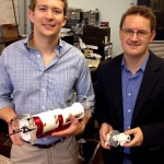 Ph.D. candidate David Comber, left, and Associate Professor of Mechanical Engineering Eric Barth
