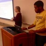 Megan Woodruff (CE'17) and Phil Hawkins (CS'17) present Pocket Docket to the Human-Computer Interaction class. (Heidi Hall/Vanderbilt University)