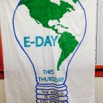 An E-Day banner advertises the Nov. 6 event in Featheringill Hall.
