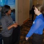 TVA recruiter Michelle Woods, left, talks to chemical engineering major Alexandra Smith. (Heidi Hall/Vanderbilt University)
