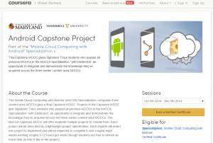 The home page for Vanderbilt's Android programming MOOC capstone.