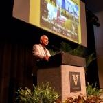 Sankaran Mahadevan, John R. Murray Sr. Professor of Engineering, greets the 700 engineers attending the co-located conferences. (Heidi Hall/Vanderbilt University)