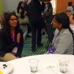 Anita Mahadevan-Jansen, right, Orrin H. Ingram Professor of Biomedical Engineering, speaks with a potential graduate student. (Michele Cedzich, Vanderbilt University)
