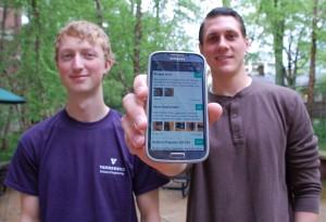 Vanderbilt engineering seniors Walton Seymour, left, and Alex Meyer today unveiled Bazaar, a sales app for university students, alumni and employees. (Heidi Hall/Vanderbilt University)