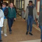 Fourth-year mechanical engineering student Teddy Russell, right, guides a tour through Featheringill Hall. (Heidi Hall/Vanderbilt University)