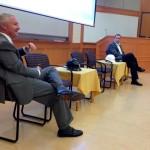 Hank Harris, left, and Seth Butler on a panel Thursday at the Vanderbilt University School of Engineering on Thursday. (Heidi Hall/Vanderbilt University)