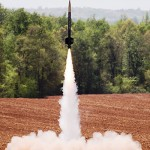 Thrustworthy lifts off at the 2015-2016 NASA Student Launch Competition at Bragg Farms in Toney, Alabama, April 16.