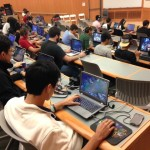League of Legends players in Jacobs Believed in Me Auditorium.